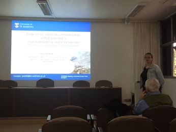 "Anouk gives her presentation entitled ""Evidence for subsolidus remobilization of REE and HFSE in eudialyte bearing nepheline syenitesThe Ilímaussaq complex, South Greenland"""